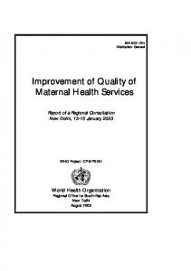 Improvement of Quality of Maternal Health Services