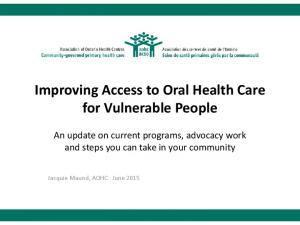 Improving Access to Oral Health Care for Vulnerable People
