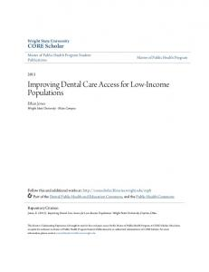 Improving Dental Care Access for Low-Income Populations