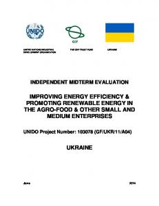 IMPROVING ENERGY EFFICIENCY & PROMOTING RENEWABLE ENERGY IN THE AGRO-FOOD & OTHER SMALL AND MEDIUM ENTERPRISES