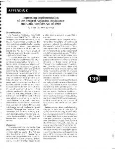 Improving Implementation of the Federal Adoption Assistance and Child Welfare Act of 1980