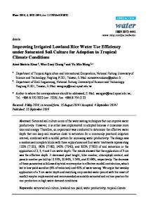 Improving Irrigated Lowland Rice Water Use Efficiency under Saturated Soil Culture for Adoption in Tropical Climate Conditions