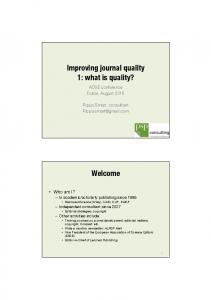 Improving journal quality 1: what is quality?