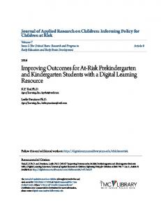 Improving Outcomes for At-Risk Prekindergarten and Kindergarten Students with a Digital Learning Resource