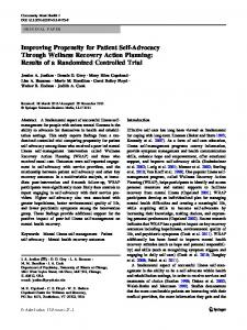 Improving Propensity for Patient Self-Advocacy Through Wellness Recovery Action Planning: Results of a Randomized Controlled Trial