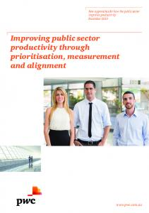 Improving public sector productivity through prioritisation, measurement and alignment