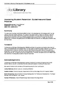 Improving Student Retention: Guidelines and Good Practice