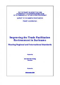 Improving the Trade Facilitation Environment in Suriname