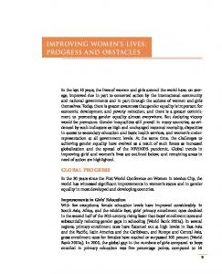 Improving Women s Lives: Progress and Obstacles