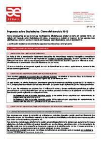 Impuesto sobre Sociedades: Cierre del ejercicio 2013