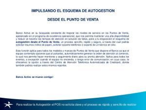 IMPULSANDO EL ESQUEMA DE AUTOGESTION DESDE EL PUNTO DE VENTA