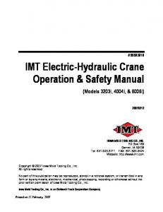 IMT Electric-Hydraulic Crane Operation & Safety Manual