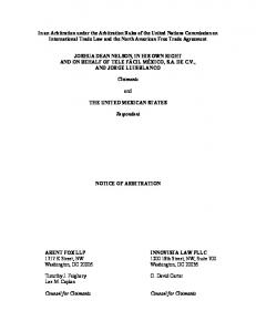 In an Arbitration under the Arbitration Rules of the United Nations Commission on International Trade Law and the North American Free Trade Agreement