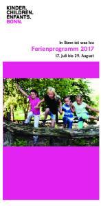 In Bonn ist was los Ferienprogramm Juli bis 29. August