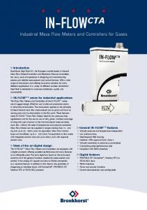 IN-FLOW CTA Industrial Mass Flow Meters and Controllers for Gases