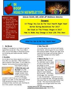 IN GOOD HEALTH NEWSLETTER