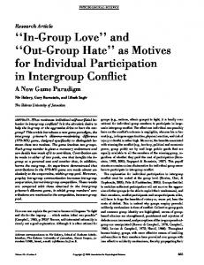 In-Group Love and Out-Group Hate as Motives for Individual Participation in Intergroup Conflict