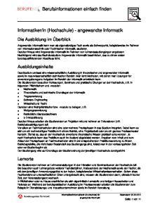in (Hochschule) - angewandte Informatik