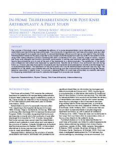 In-Home Telerehabilitation for Post-Knee Arthroplasty: A Pilot Study