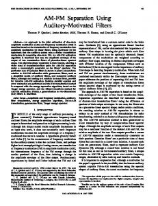 IN MODELS of the early stage of auditory processing, a