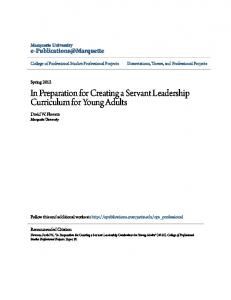 In Preparation for Creating a Servant Leadership Curriculum for Young Adults