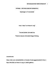 IN PRESS PSYCHOLOGISCHE RUNDSCHAU. Psychologie der Verwandtschaft