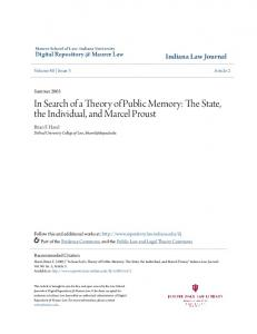 In Search of a Theory of Public Memory: The State, the Individual, and Marcel Proust