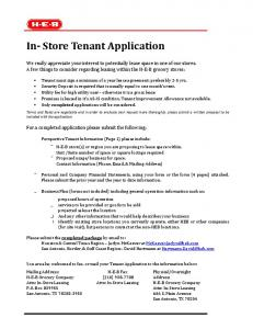 In- Store Tenant Application