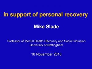 In support of personal recovery