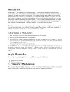 In the angle modulation, again there are two different types of modulations