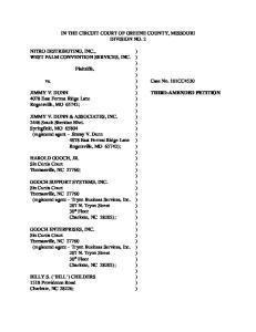 IN THE CIRCUIT COURT OF GREENE COUNTY, MISSOURI DIVISION NO. 2. vs. ) Case No. 101CC4530