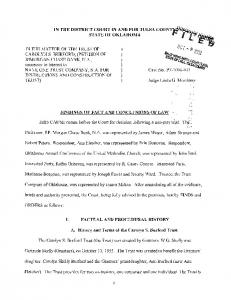 IN THE DISTRICT COURT IN AND FOR TULSA COUNT~,l~~f.ri.' '''' STATE OF OKLAHOMA,_ I,iii~ FINDINGS OF FACT AND CONCLUSIONS OF LAW