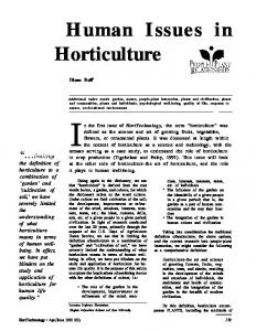 In the first issue of HortTechnology, the term horticulture was