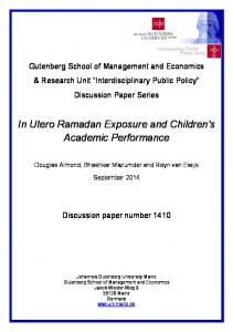 In Utero Ramadan Exposure and Children's Academic Performance