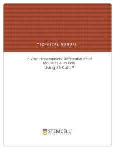 In Vitro Hematopoietic Differentiation of Mouse ES & ips Cells Using ES-Cult