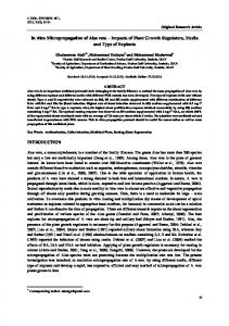 In vitro Micropropagation of Aloe vera Impacts of Plant Growth Regulators, Media and Type of Explants
