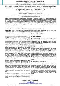 In vitro Plant Regeneration from the Nodal Explants of Spermacoce articularis L. f