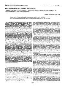 In Vivo Studies of Cysteine Metabolism