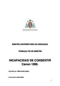 INCAPACIDAD DE CONSENTIR Canon 1095