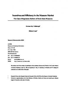 Incentives and Efficiency in the Museum Market