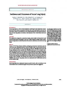Incidence and Outcomes of Acute Lung Injury