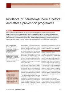 Incidence of parastomal hernia before and after a prevention programme