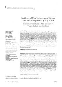 Incidence of Post-Thoracotomy Chronic Pain and Its Impact on Quality of Life
