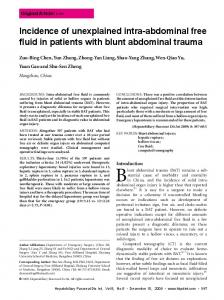 Incidence of unexplained intra-abdominal free fluid in patients with blunt abdominal trauma