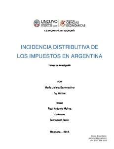 INCIDENCIA DISTRIBUTIVA DE LOS IMPUESTOS EN ARGENTINA