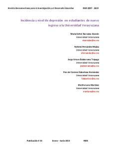 Incidencia y nivel de depresión en estudiantes de nuevo ingreso a la Universidad Veracruzana