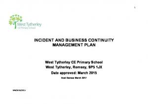 INCIDENT AND BUSINESS CONTINUITY MANAGEMENT PLAN