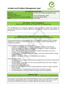 Incident and Problem Management Lead