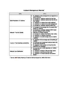 Incident Management Metrics *