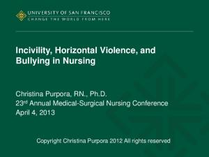 Incivility, Horizontal Violence, and Bullying in Nursing